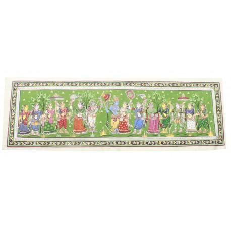 """Radha Krishna With Gopika Silk Painting 15"""" 43"""""""