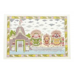 "Pattachitra Jagannath Puri Temple Painting On Silk 14"" by 10"""