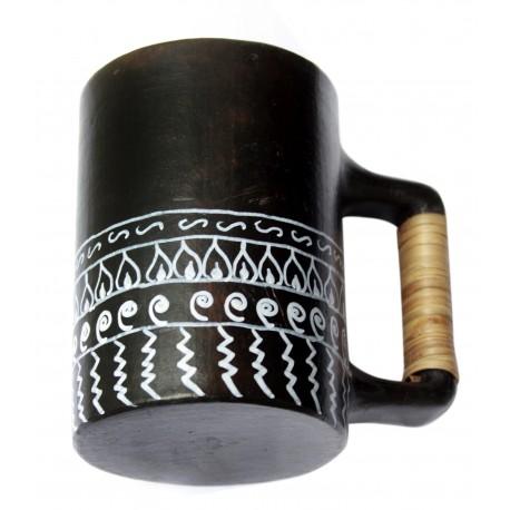 Painted Ethnic Art Black Pottery Beer Mug