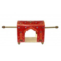 Wooden Painted Palki Palanquin Showpiece Miniature