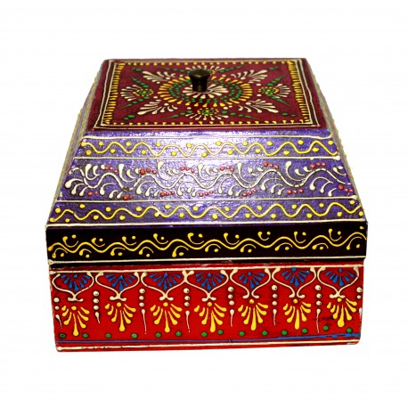 Wooden Emboss Painting Multi Colour Decorative Storage Box Jewellery Box
