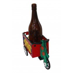 Wooden Cycle Rickshaw Shape Painted Wine Bottle Holder Home Decorative