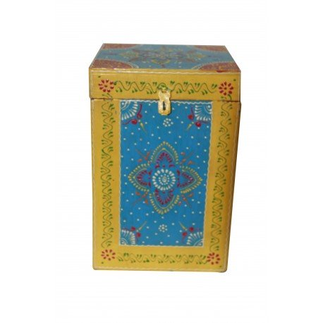 Ethnic Hand Painted Four Partition Wine Bottle Holder