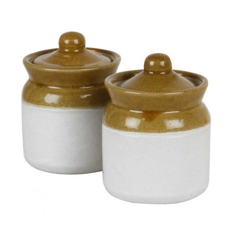 """Ethnic White and Mustard Ceramic Jar Cookie Candy Jar Set of Two 4"""""""