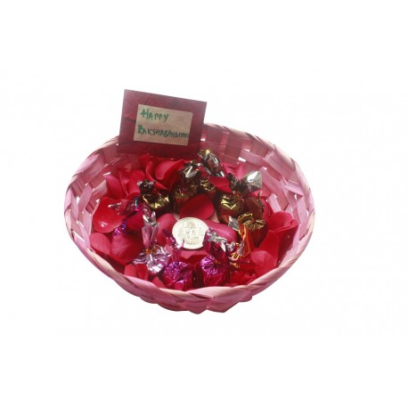 Painted Bamboo Basket With Handmade Chocolates and 10 Grams Silver Coin