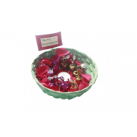 Painted Green Bamboo Basket With Handmade Chocolates and Candle