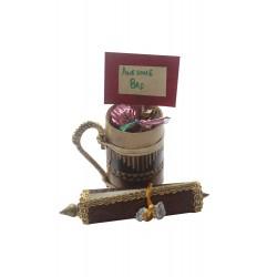 Mini Bamboo Beer Mug With Chocolates and Scroll