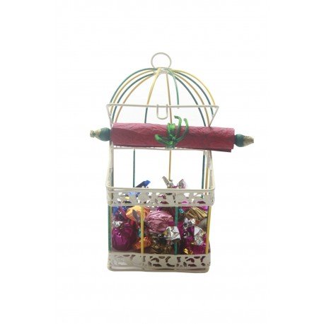 Iron Painted Cage With Handmade Chocolates, Message Scroll