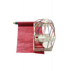 Iron Painted Cage With Candle and Scroll Gift