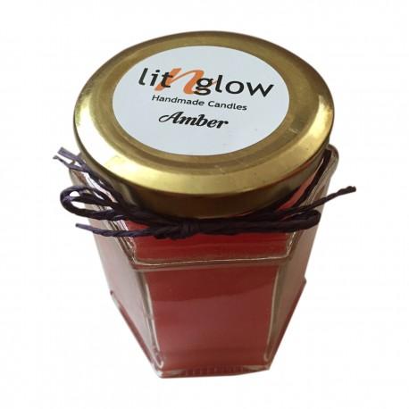 Hexa Jar Scented  Amber Fragrance Handmade Candle