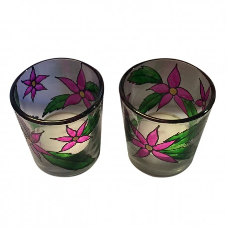 Set of Two Painted Tealight Candle Holder
