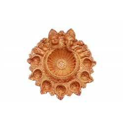 Lakshmi And Ganesh Head Handcrafted Clay Diya 7 Diyas