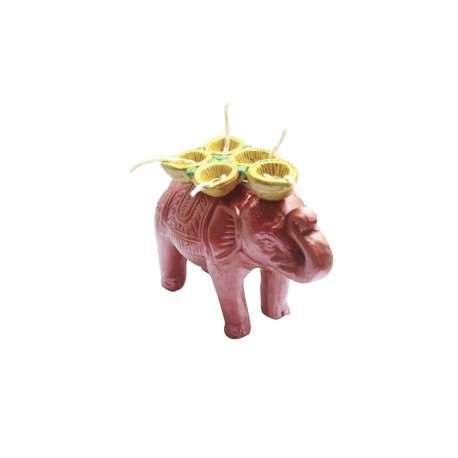 Clay Elephant With 5 Diyas Painted Diya