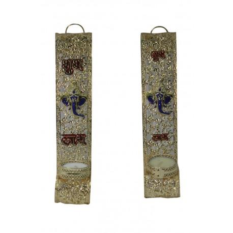 Set of Two Metal Ganesha Shubh Labh Tealight Holder Wall Hanging Tealight Diya
