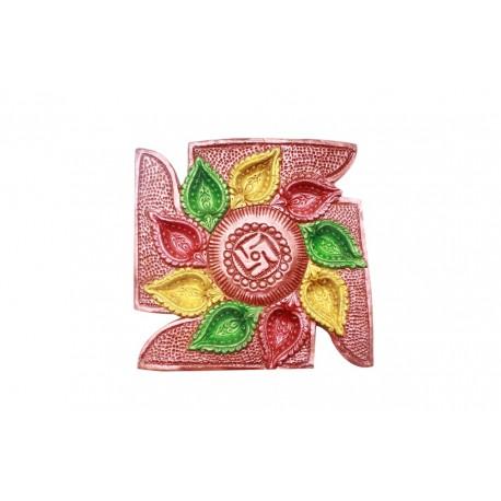 Painted Swastik Shape Nine Diyas Diwali Diya