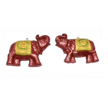 Painted Clay Elephant Shubh Labh Wall Hanging Shubh Labh Wall Décor