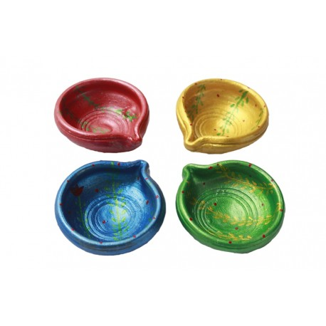 Set of Four Painted Clay Diyas Diwali Diya