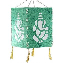 Handcrafted Handmade Paper Foldable Decorative Blue Ganesha Lantern Lampshde