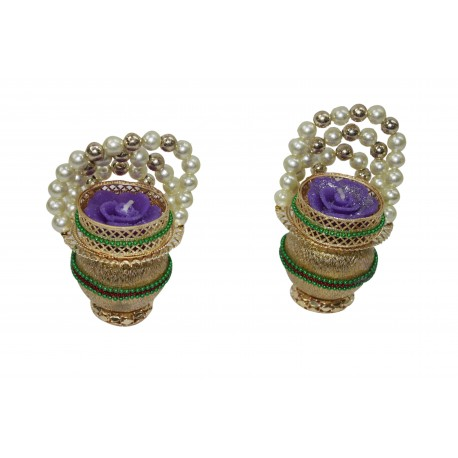 Set of Four Metal Kundan Tealight Holder Diwali Gift Tealight Diya