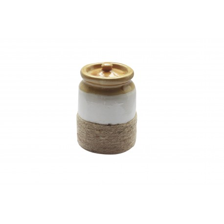 Set Of Two Twine Wrapped Ceramic Barni / Pickle Jar