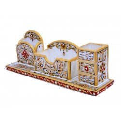 Marble Kundan Embossed Desk Accessory Pen Holder