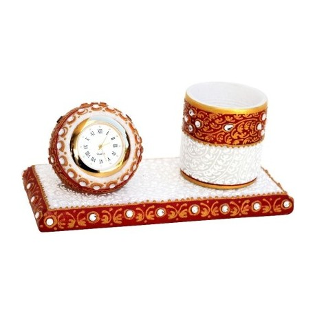 Marble Kundan Embossed Clock With Pen Holder