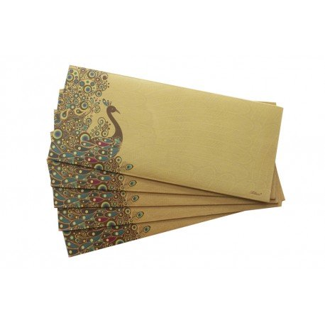 Traditional Peacock Design Gold Money Envelope Gift Cover Set of Five