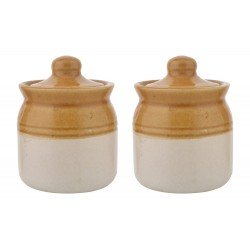 Set Of Two Ethnic Set of Two Pickle Jar 50 Ml Ceramic Container
