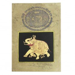 Golden Elephant Stamp Paper Painting