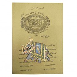 Royal Rajasthan Elephant Painted Old Stamp Paper Stamp Paper Painting