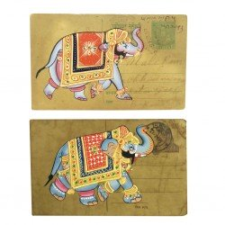 Set of Two Post Card Painting Elephant Rajasthan Art