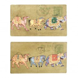 Set Of Two Post Card Painting Rajasthan Art