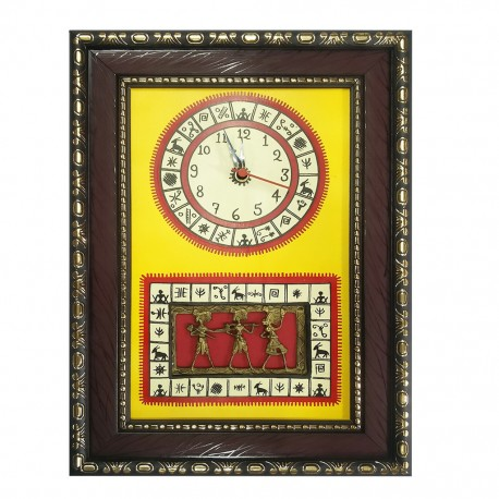 Wooden Dokhra Warli Art Wall Clock With Frame