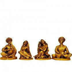 "Set of Four Brass Rajasthani Musician Set Playing Music Musical Dolls 6.6"" Figurines"