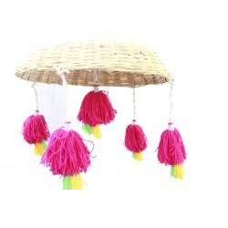 Decorative Bamboo Cane And Tassels Decorative Hanging Christmas Door Hanging