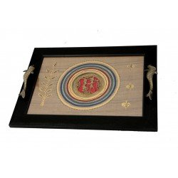 Silk Handpainted Dhokra Work Serving Tray with Dolphin Shaped Handle
