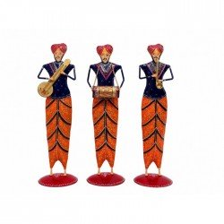 Wrought Iron Painted Set Of Three Punjabi Musician Set