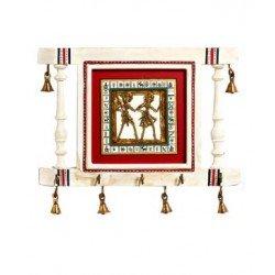Wooden Dhokra Art White Key Holder With Brass Bells