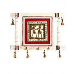 Wooden Dhokra Art White Key Holder With Brass Bells