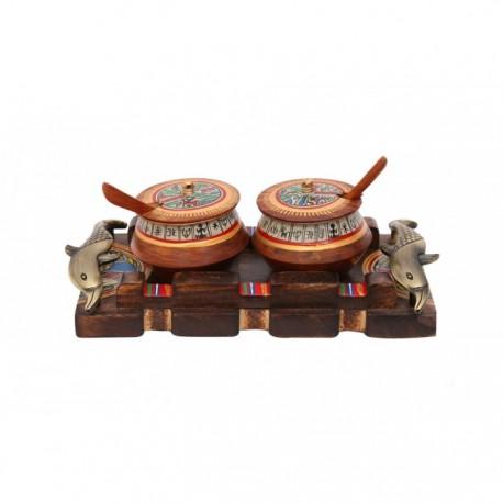 Wooden Warli Art Jars and Fish Handle Tray Kitchenware