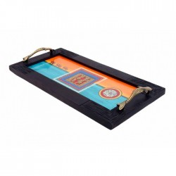 Dhokra Art Sheesham Wood Tray With Warli Art
