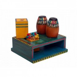 Warli Art Painted Wooden Salt and Pepper Shaker With Toothpick Holder and Tissue Box