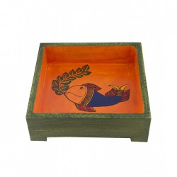 "Ethnic Madhubani Fish Handpainted Wooden Square Serving Tray 7"" by 7"""