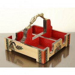 Ethnic Handpainted Wooden Dhokra Work Teacup/ Chai Glass Partition Tray