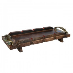 Handpainted Ethnic Looking Wooden Serving Tray With Dhokra Work 38 X 15 X 6 CM
