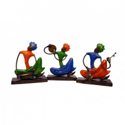 Set Of Three Multi Colour Wrought Iron Punjabi Musician Set Ethnic Indian Decor