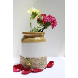 """Traditional Barni Vase With Twine and Parrot Motifs 6"""" Multi Purpose Jar"""