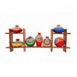 Wooden Sheesham Wood Wall Shelf With Painted Terracotta Pots