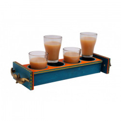 Wooden Handpainted Ethnic Serving Tray With Glasses
