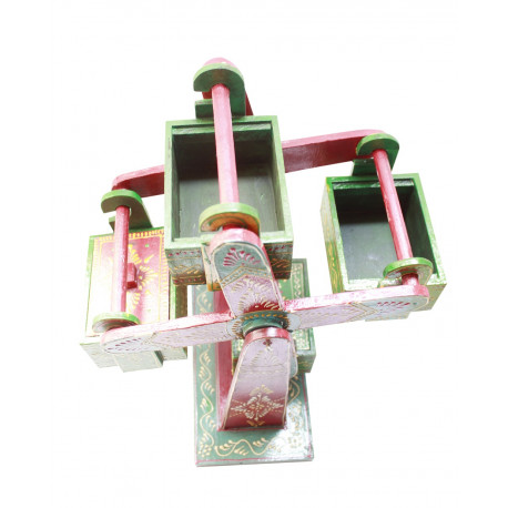 Wooden Handcrafted Jhula Jhoola Ferris Wheel Design Box/ Storage Box/ Dryfruit Box